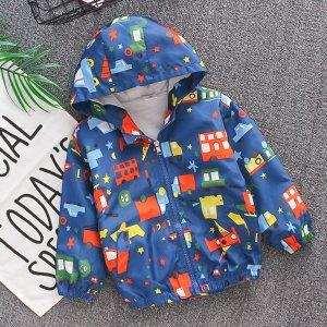 Куртка с капюшоном для мальчиков SHEIN. Цвет: синий