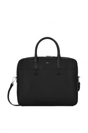 Черная кожаная сумка FURLA. Цвет: черный