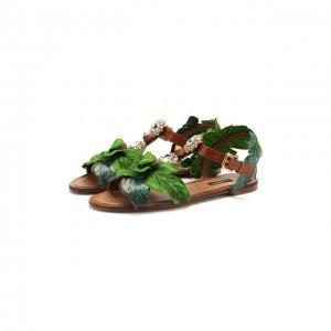 Кожаные сандалии Dolce & Gabbana. Цвет: зелёный