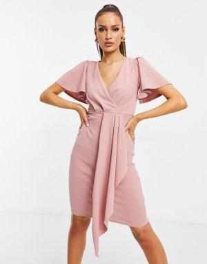 Розовое платье с расклешенными рукавами и вставкой -Розовый цвет Lipsy