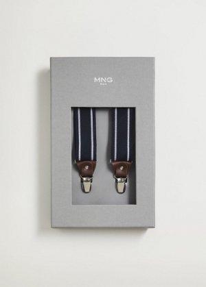 Эластичные подтяжки с кожаными деталями - Suspende Mango. Цвет: темно-синий