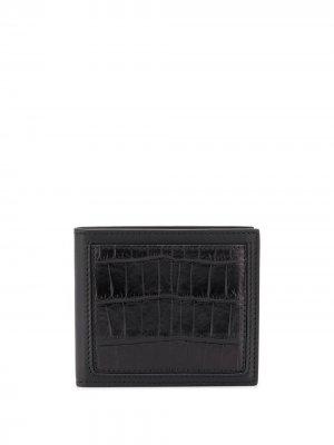 Бумажник с тиснением под крокодила Ermenegildo Zegna. Цвет: черный