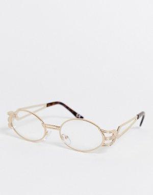Овальные очки с золотистой оправой и прозрачными стеклами -Золотой ASOS DESIGN