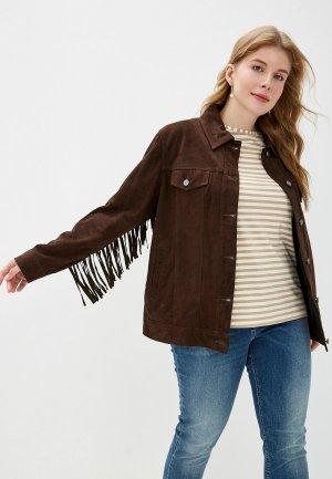 Куртка кожаная Marina Sport x Rinaldi EBANISTA. Цвет: коричневый
