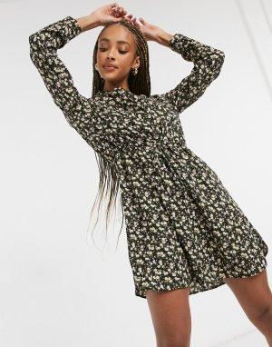 Платье-туника с длинными рукавами и цветочным принтом -Черный цвет Only