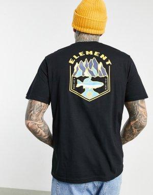 Черная футболка с принтом на спинке Sora-Черный Element