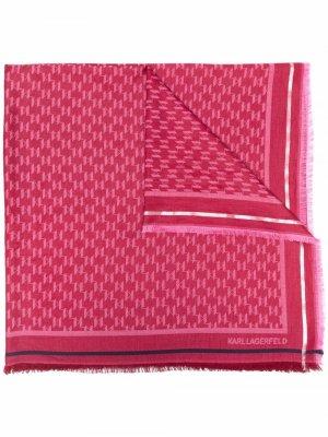 Жаккардовый платок с монограммой Karl Lagerfeld. Цвет: розовый
