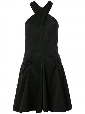 Платье с вырезом петлей-халтер и сборками Carven. Цвет: черный