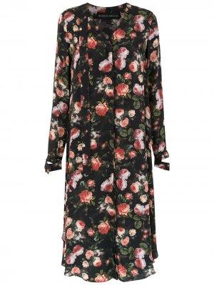 Платье миди с принтом Gloria Coelho. Цвет: черный