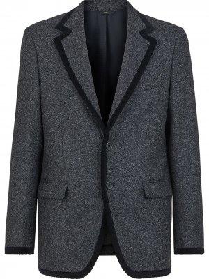 Твидовый пиджак с контрастной отделкой Fendi. Цвет: серый