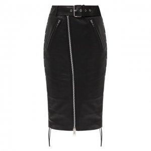 Кожаная юбка Balenciaga. Цвет: чёрный
