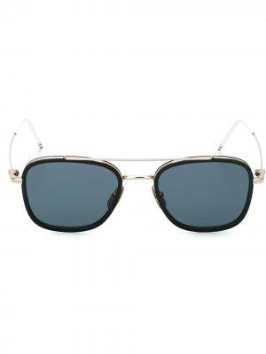 Солнцезащитные очки в квадратной оправе Thom Browne Eyewear. Цвет: черный