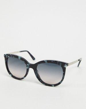 Синие солнцезащитные очки в круглой оправе Etro-Голубой ETRO