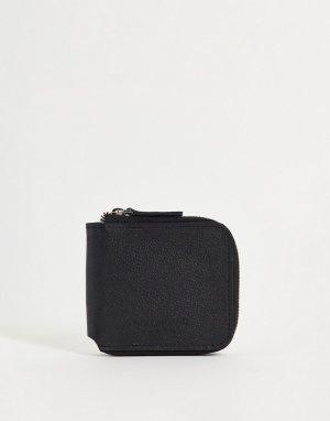 Бумажник из зернистой кожи на молнии -Черный цвет Bolongaro Trevor