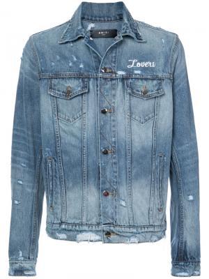 Джинсовая куртка с потертостями Amiri. Цвет: синий