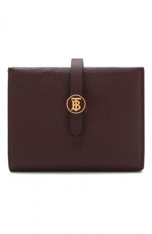Кожаное портмоне Burberry. Цвет: темно-коричневый