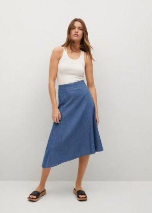 Джинсовая юбка с асимметричным низом - Gaia-h Mango. Цвет: синий средний