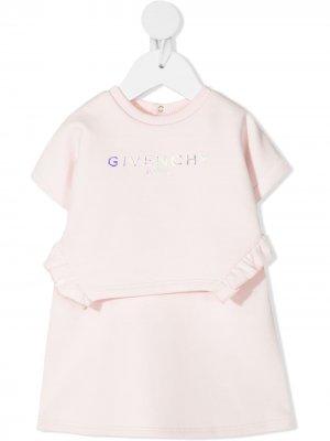 Платье A-силуэта с логотипом Givenchy Kids. Цвет: розовый