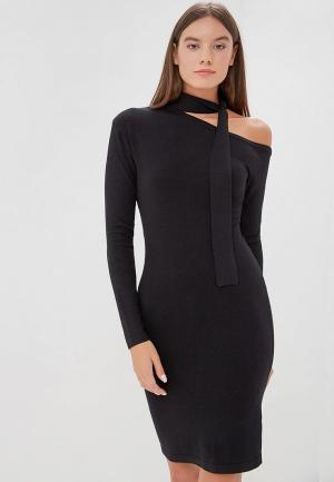 Платье LOST INK ONE SHOULDER TIE NECK DRESS. Цвет: черный