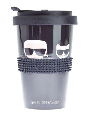 Термокружка K/Ikonik с фирменным контрастным декором KARL LAGERFELD. Цвет: черный