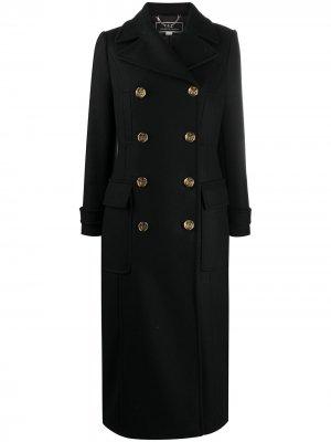 Двубортное пальто с гравированными пуговицами Elisabetta Franchi. Цвет: черный