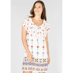 Платье с V-образным вырезом DERHY. Цвет: экрю/рисунок