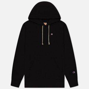 Мужская толстовка Logo Chest & Sleeve Hoodie Champion Reverse Weave. Цвет: чёрный