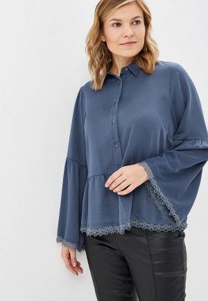 Блуза LOST INK PLUS SHIRT WITH PEPLUM AND LACE TRIM. Цвет: серый