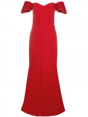 Платье макси с открытыми плечами Badgley Mischka. Цвет: красный