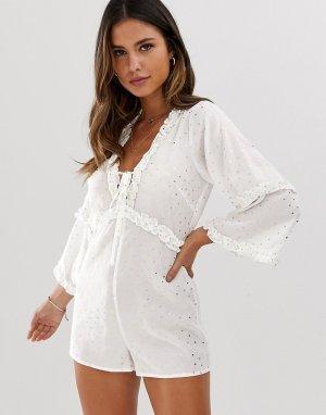 Пляжный ромпер в горошек золотистого цвета -Белый Fashion Union