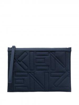 Стеганый клатч с вышитым логотипом Kenzo. Цвет: синий