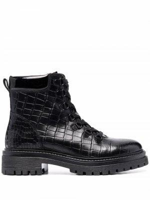 Ботинки на шнуровке с тиснением под крокодила Geox. Цвет: черный