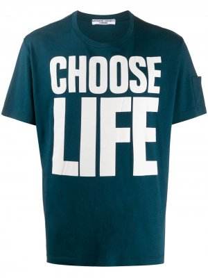 Футболка с принтом Choose Life Katharine Hamnett London. Цвет: синий