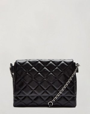 Лакированная стеганая сумка на плечо черного цвета -Черный цвет Miss Selfridge