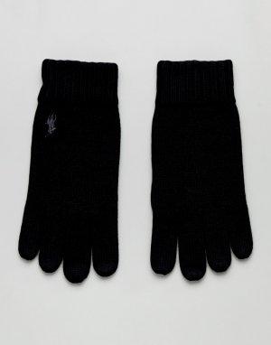Черные перчатки в рубчик с логотипом Polo Ralph Lauren. Цвет: черный