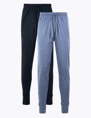 Комплект пижамных брюк из 100%-го чистого хлопка (2 шт) M&S Collection. Цвет: морской синий/голубой