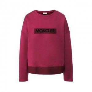 Хлопковый пуловер с логотипом бренда Moncler. Цвет: красный