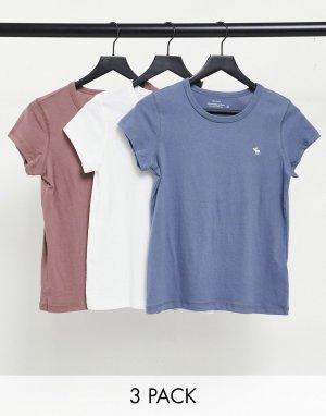 Комплект из трех футболок разных цветов с круглым вырезом -Многоцветный Abercrombie & Fitch