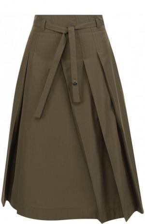 Однотонная хлопковая юбка-миди с поясом Loro Piana. Цвет: хаки