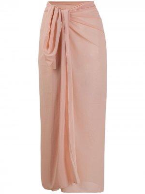 Юбка-саронг с завязками спереди Fisico. Цвет: розовый