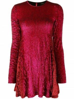 Платье мини с длинными рукавами и пайетками Pinko. Цвет: розовый