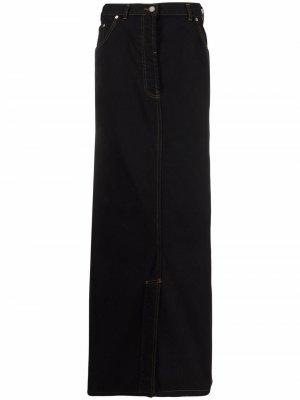 Джинсовая юбка макси 1990-х годов Dries Van Noten Pre-Owned. Цвет: черный