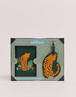 Обложка для паспорта и багажная бирка с леопардовым принтом Sass & belle-Мульти Belle