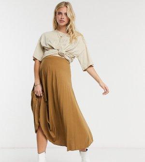 Светло-коричневая юбка миди с плиссировкой ASOS DESIGN Maternity-Коричневый Maternity