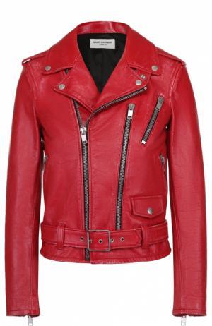 Кожаная укороченная куртка с косой молнией Saint Laurent. Цвет: красный