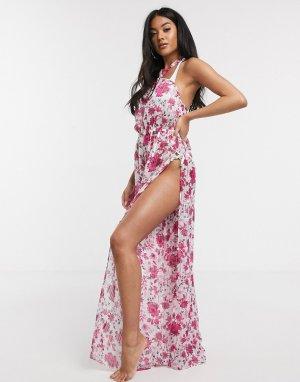 Пляжный комбинезон с широкими штанинами и цветочным принтом -Мульти ASOS DESIGN