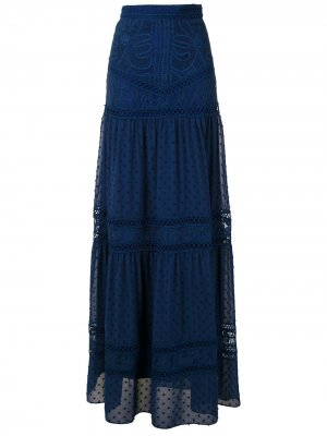 Кружевная юбка макси Yana Martha Medeiros. Цвет: синий