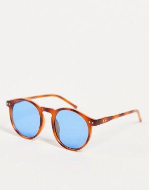 Солнцезащитные очки унисекс в круглой оправе рыжего цвета с черепаховым дизайном Pause-Оранжевый цвет AJ Morgan
