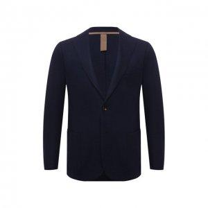 Шерстяной пиджак Eleventy. Цвет: синий