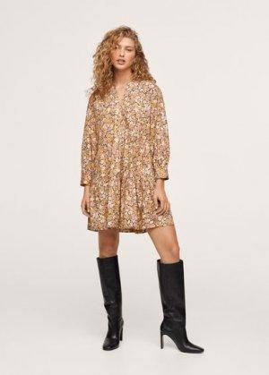 Короткое платье с воланами - Diana Mango. Цвет: желтый